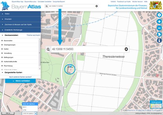 Koordinaten Karte.Bayerische Vermessungsverwaltung Hilfe Suche Nach Koordinaten